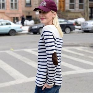 Madewell Merino Wool Elbow Patch Striped Sweater